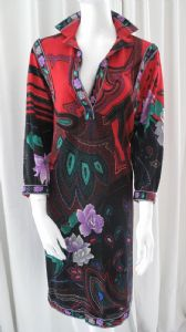 1970's Norman Hartnell folklore print wool vintage shirt dress ** SOLD**
